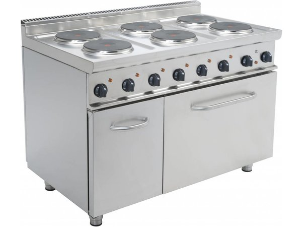 Saro Electric Stove 6 burners + Electric Oven 120 Liter   6 x 2.6 KW   400V   1.200x700x (H) 850mm