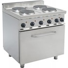 Saro Electric 4 burner stove + Electric Oven 120 Liter | 400V | 4 x 2.6 KW | 800x700x (H) 850mm