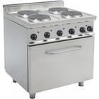 Saro Electric 4 burner stove + Electric Oven 120 Liter | 400V | 4 x 2.6 KW | 800x700x (H) 850mm