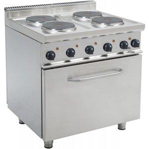 Saro Fornuis Elektrisch 4 pits + Elektrische Oven 120 Liter   400V   4 x 2,6 KW   800x700x(H)850mm