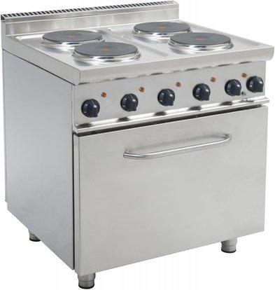 Saro Fornuis Elektrisch 4 pits + Elektrische Oven 120 Liter | 400V | 4 x 2,6 KW | 800x700x(H)850mm