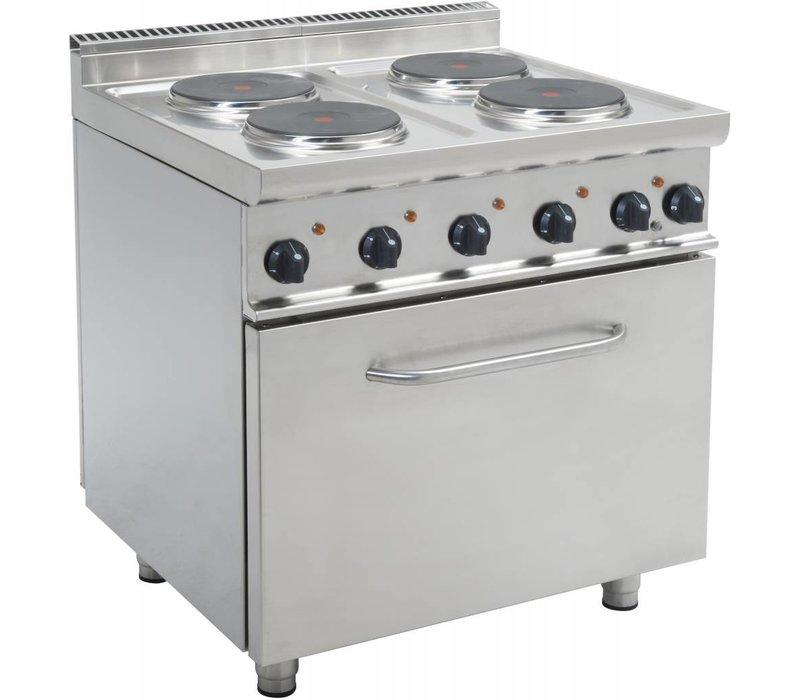 Saro Electric 4 burner stove + Electric Oven 120 Liter   400V   4 x 2.6 KW   800x700x (H) 850mm