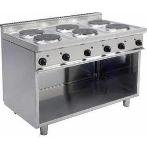 Saro Electric stove 6 burner | Casta Open Frame | 6 x 2.6 KW | Stainless steel | 400V | 1.200x700x (H) 850 mm