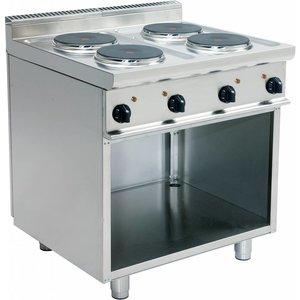 Saro Elektro-Kaminofen | 4-Flammen | Casta Open Frame | 4 x 2,6 kW | Edelstahl | 400V | 800mmx700mmx (H) 850mm