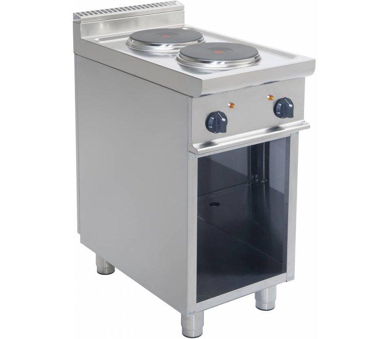 Saro Elektro-Kaminofen | 2-Brenner | Casta Open Frame | 2 x 2,6 KW | Edelstahl | 400V | 400x700x (H) 850 mm