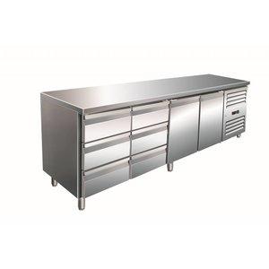 Saro Cool Workbench 2 door 6 drawers - 223x70x (h) 89-95cm