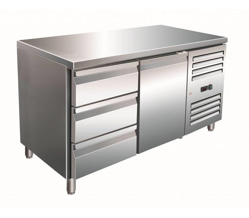 Saro Cool Workbench 1 door 3 drawers - 136x70x (h) 89-95cm