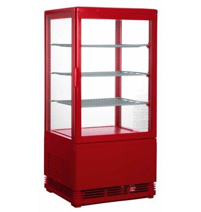 Saro Mini Displaykühlschrank - 78 Liter - drei verstellbare Einlegeböden - Rot - 43x38x (h) 88