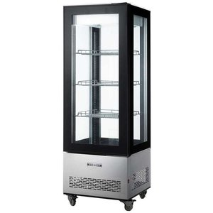 Saro Kühlvitrine 400 Liter Deluxe auf Rädern - 3 verstellbare Fachböden