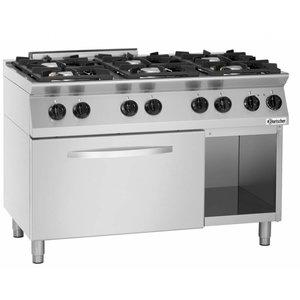 Bartscher Gas Fornuis 6-pits + Elektrische oven 2/1 GN - 400V | 1200x700x(H)910-955mm