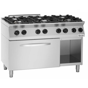 Bartscher Gas Stove 6-burner + electric oven 2/1 GN - 400V | 1200x700x (H) 910-955mm