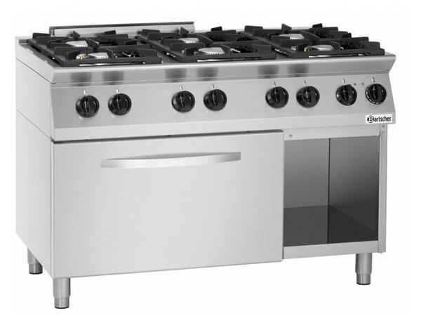 Bartscher Gas Stove 6-burner + electric oven 2/1 GN - 400V | 1200x700x (H) 910-955mm