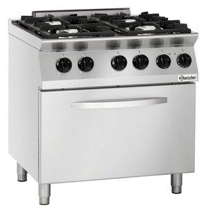 Bartscher Gas Stove 4 burner + electric oven 2/1 GN | 400V | 800x700x (H) 910mm