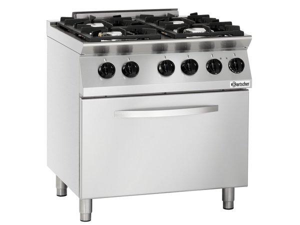 Bartscher Gas Stove 4 burner + electric oven 2/1 GN   400V   800x700x (H) 910mm