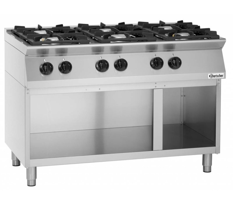 Bartscher Cooker - Gas - 6-burner - with open base - 120x70x (h) 91cm