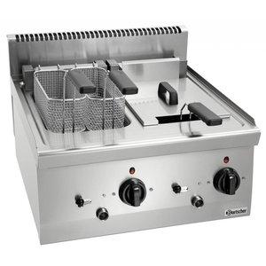 Bartscher Electric Fryer | With Uidraaibaar Heater | 2x8 Liter | Series 600 | 400V | 12,6kW | 600x600x (H) 290 mm