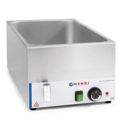 Hendi Bain Marie GN 1/1 | 150 mm diep | KitchenLine | Met Wateraftapkraan | 1200W | 340x540x(H)250mm