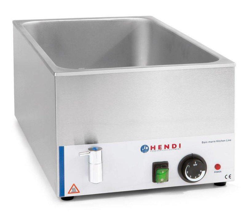 Hendi Bain Marie GN 1/1   150 mm tiefen   Küchenzeile   Mit Wasserablassventil   1200W   340x540x (H) 250mm