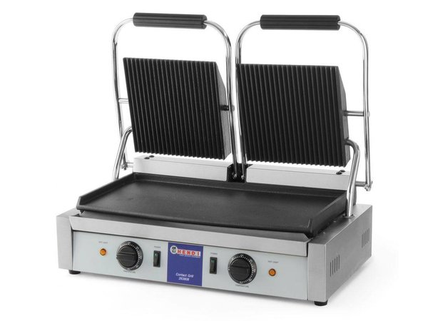 Hendi Contact Grill double - over ribbed, among smooth - 57x37x (H) 21 - 3600W