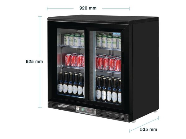 Polar Barkoeling with 2 Glass Doors - 182 bottles - 233 liters -925 (H) x 920 (W) x 535 (D)