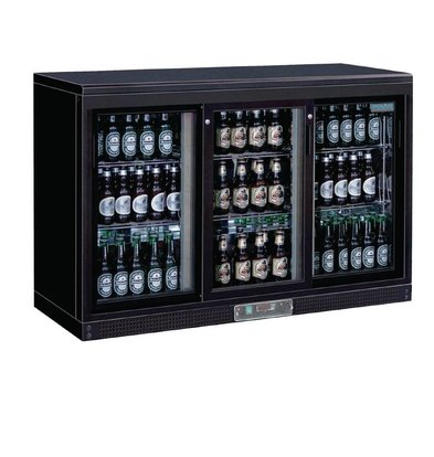 Polar Barkoelkast + 3 Schuifdeuren van Glas - 268 Flessen - 335 liter - 1350(b)x520(d)x920(h)mm