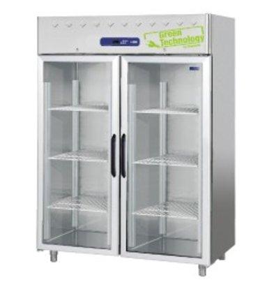 Diamond Freezer with glass door - stainless steel - 1400 Liters - 150x82x (h) 203cm - DELUXE