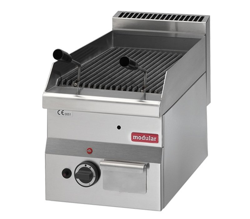 Modular Lavasteengrill 600 Modular Gas RVS -met Grill Rooster - 30x60x(h)28cm - 5.5KW