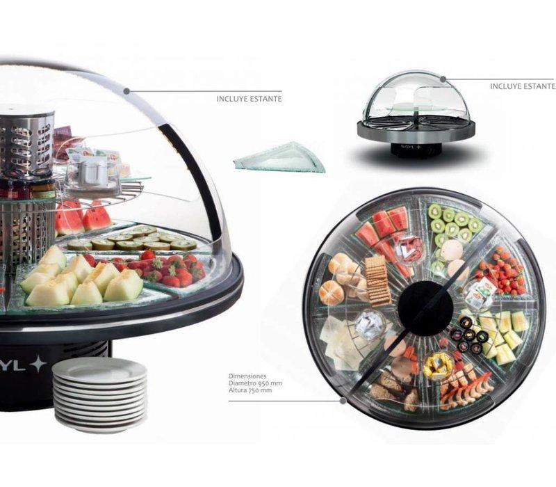 XXLselect Refrigerated display case - black - Round Presentation Buffet - 95Øx (h) 75cm