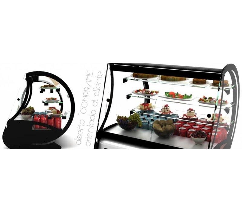 XXLselect Gebaksvitrine - 3 glazen schappen - gebogen glas - 710x620x640(h)mm
