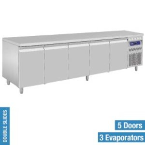 Diamond Koelwerkbank - RVS - 5 deurs - 262,5x70x(h)85/90cm - Europees