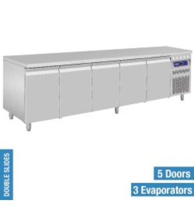 Diamond Cool Workbench - RVS - 5 door - 262,5x70x (h) 85 / 90cm - European