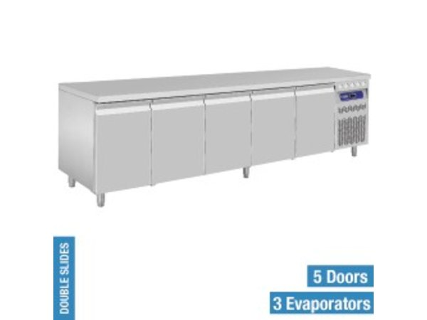 Diamond Coole Workbench - RVS - 5 Türen - 262,5x70x (h) 85 / 90cm - Europäische