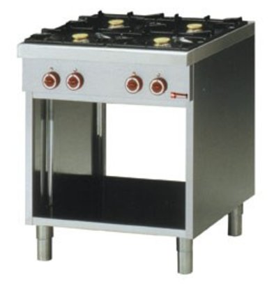 Diamond Gas stove | with open chassis | 4 burner | 2 x 3,6kW + 2 x 5kw | Adjustable Legs | 700x650x (H) 850mm