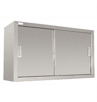 XXLselect Wardrobe Stainless Steel - with two sliding doors   Welded   1200 (B)   300 (D)   600 (H) mm