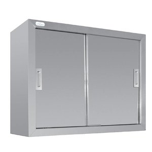 XXLselect Wardrobe Stainless Steel - with two sliding doors | 900 (B) | 300 (D) | 600 (H) mm