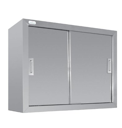 XXLselect Wardrobe Stainless Steel - with two sliding doors   900 (B)   300 (D)   600 (H) mm