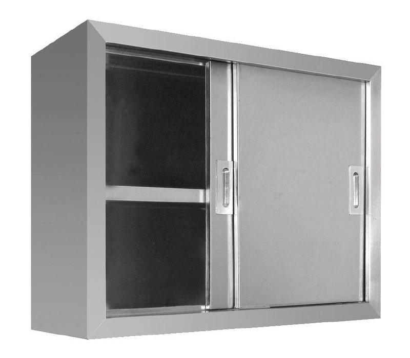 XXLselect Kleiderschrank Edelstahl - mit zwei Schiebetüren | 900 (B) | 300 (D) | 600 (H) mm