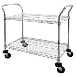 XXLselect Trolley Chromed steel rods - two bars - 910x460x (h) 960mm