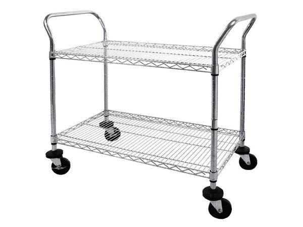 XXLselect Trolley aus verchromtem Stahl - zwei Bars - 910x460x (h) 960mm