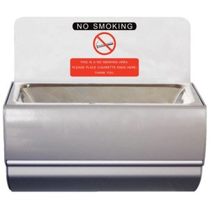XXLselect Wall ashtray stainless steel | Hinged for easy Legen | 100x190x (H) 100mm | 2 Stickers