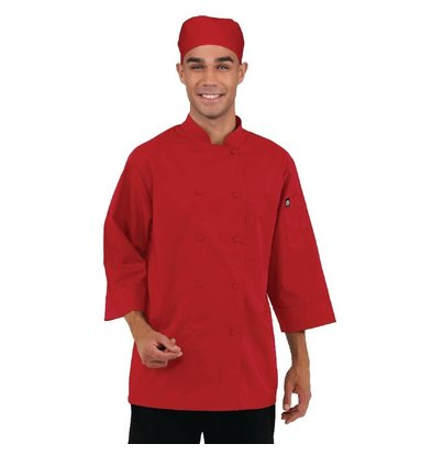 Colour by Chef Works Chef Works farbigen Cooks Schlauch 3/4 Ärmel - Erhältlich in 6 Größen - Red
