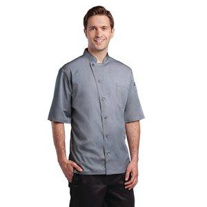 XXLselect Chef Works koksbuis Valais - Korte Mouwen - Beschikbaar in 6 maten - Grijs