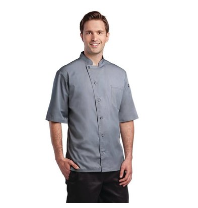 XXLselect Chef Works chef's jacket Valais - Short Sleeves - Available in 6 sizes - gray