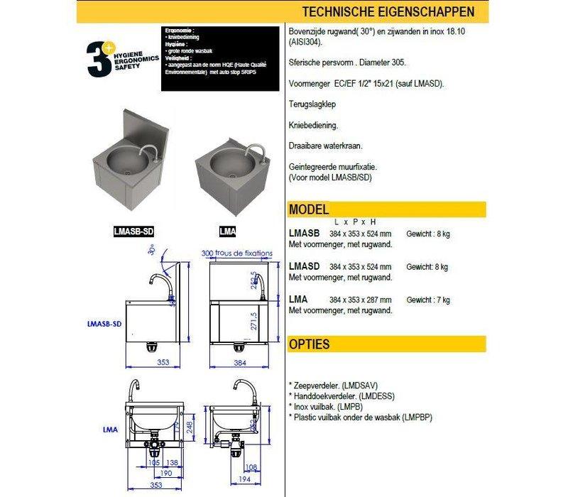 Sofinor Edelstahl-Waschbecken | mit Knie Bedienung | Ohne Für Mixer | Professional | 384x353x (H) 524 mm