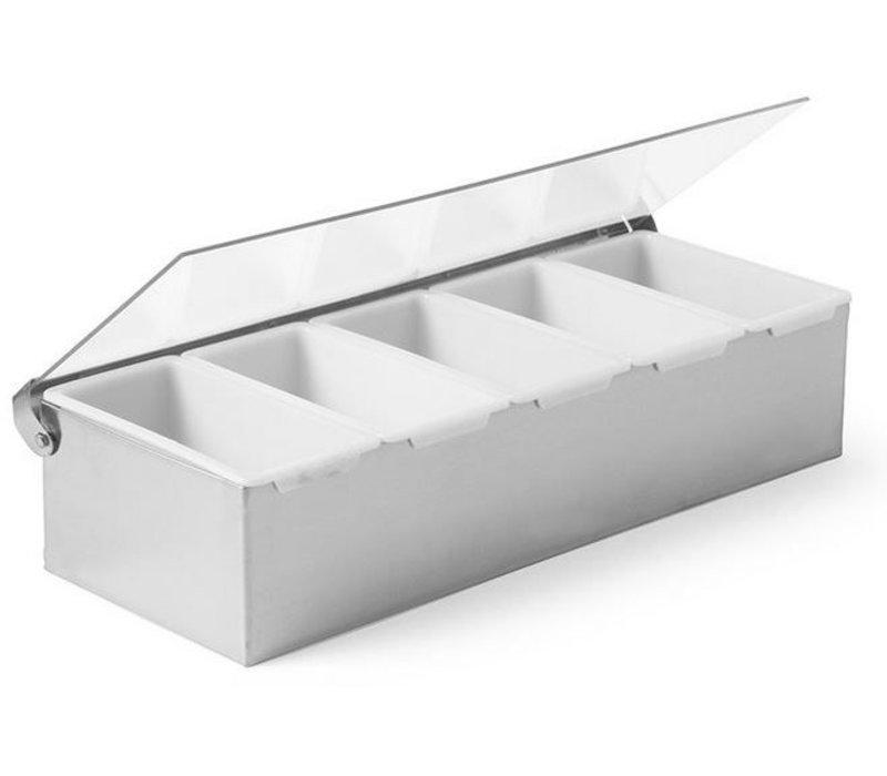 Hendi Ingredients Holder Stainless steel | With five Bins | Kunst.Deksel | 375x140x (H) 90mm