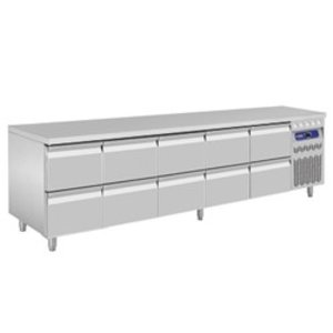 Diamond Cool Workbench - RVS - 10 drawers - 262,5x70x (h) 85 / 90cm - European