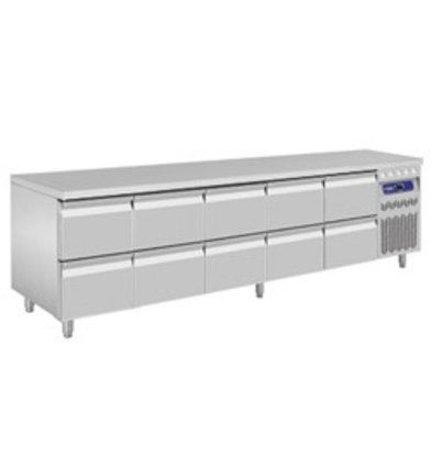Diamond Koelwerkbank - RVS - 10 laden - 262,5x70x(h)85/90cm - Europees