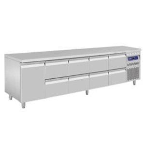 Diamond Koelwerkbank - RVS - 1 deurs en 8 laden - 262,5x70x(h)85/90cm - Europees