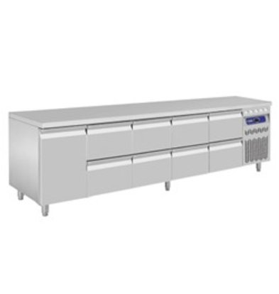 Diamond Cool Workbench - RVS - 1 door and 8 drawers - 262,5x70x (h) 85 / 90cm - European