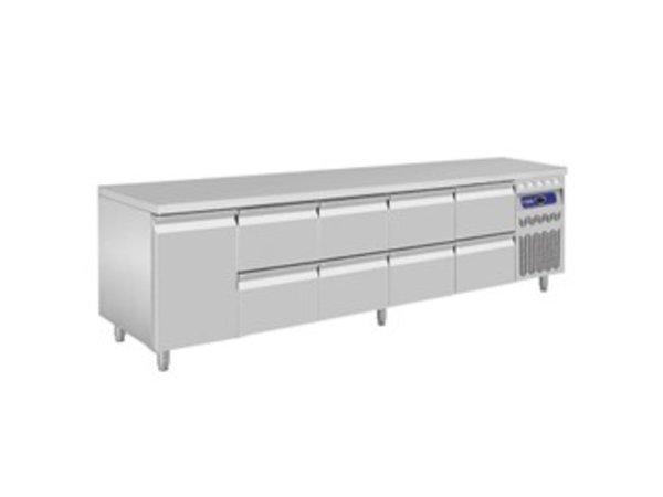 Diamond Coole Workbench - RVS - 1 Tür und 8 Schubladen - 262,5x70x (h) 85 / 90cm - Europäische